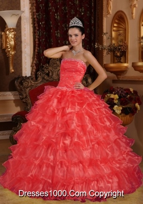 New Style Coral Red Puffy Strapless for 2014 Beading Quinceanera Dress with Ruffles