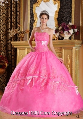 New Style Strapless Appliques Organza Rose Pink Quinceanera Gowns