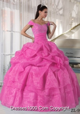 Off The Shoulder Organza Rose Pink Quinceanera Dress with Beading