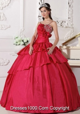 Petty Coral Red Puffy Straps Beading for 2014 Quinceanera Dress with Beading and Hand Made Flower