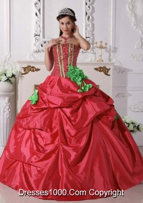 Pretty Red Puffy Strapless Beading and Hand Made Flowers for 2014 Quinceanera Dress with Pick-ups