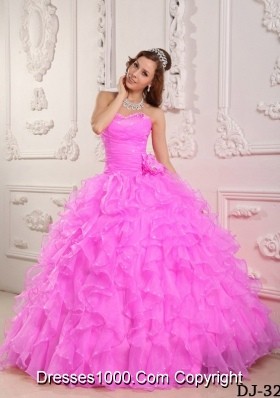 Romantic Sweetheart Rose Pink Sweet Sixteen Quinceanera Dresses with Beading