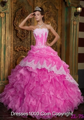 Rose Pink Princess Strapless Organza Sweet 15 Dresses with Ruffles