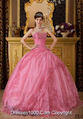 Rose Pink Sweetheart Organza Quinceaneras Dress with Appliques
