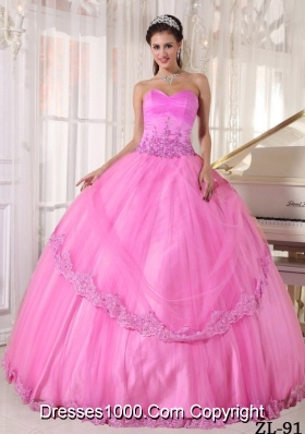 Rose Pink Sweetheart Puffy Sweet 16 Dresses with Appliques