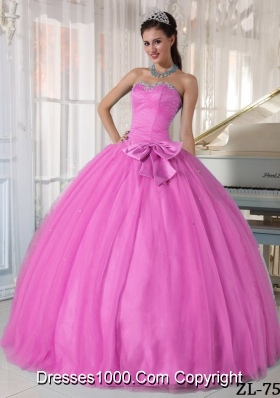 Rose Pink Sweetheart Quinceanera Dresses with Beading and Bowknot