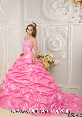Strapless Court Train Rose Pink Quinceanera Gowns with Appliques and Pick-ups
