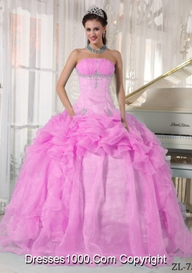 Strapless Organza Rose Pink Sweet Sixteen Dresses with Beading and Pick-ups