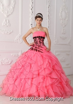 Sweet Puffy Strapless Appliques and Ruffles Coral Red for 2014 Quinceanera Dress
