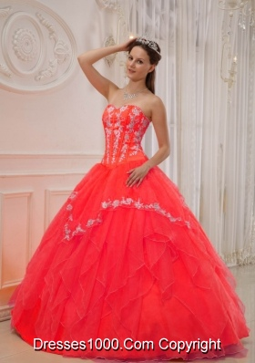 The Super Hot Red Puffy Sweetheart for 2014 Appliques Quinceanera Dress with Beading