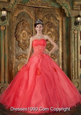 2014 Gorgeous Puffy Sweetheart Appliques Quinceanera Dresses in Red