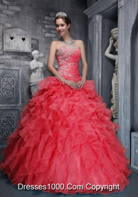 2014 Hot Sweetheart Beading and Appliques Red Quinceanera Dress with Ruffles