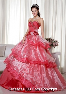 2014 Popular Red Puffy Sweetheart Beading and Hand Made Flower Quinceanera Dress