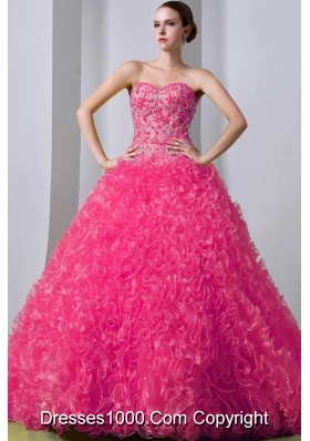 2014 Pretty Beading Quinceanea Dress in Hot Pink Princess withRuffles