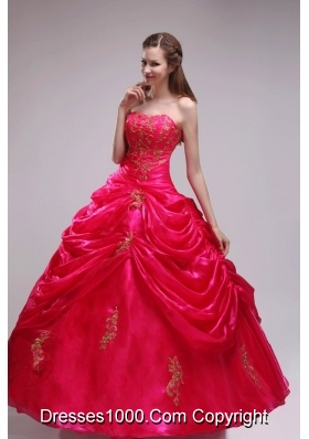 2014 Pretty Red Puffy Strapless Applqiues Quinceanera Dress with Pick-ups