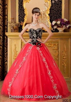 2014 Princess Sweetheart Hand Made Flower and Beading Quinceanera Dress in Red