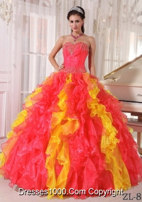 2014 Puffy Sweetheart Pleats and Sequins Quinceanera Dresses