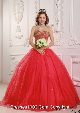 2014 Red Princess Sweetheart Beading Decorate for Quinceanera Dresses