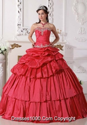 2014 Red Puffy Sweetheart Beading and Ruching Detachable Quinceanera Dress  with Ruffled Layers