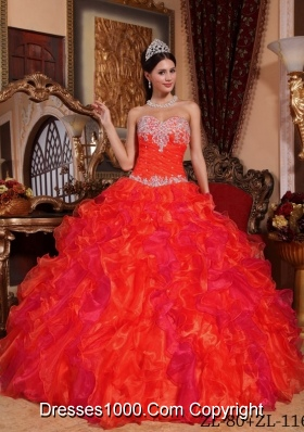2014 Romantic Puffy Sweetheart Appliques and Beading Quinceanera Dresses