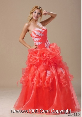 Appliques Sweetheart 2014 Quinceanera Dresseses in Red