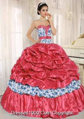 Beaded and Pick-ups For Red 2014 New Style Quinceanera Dress