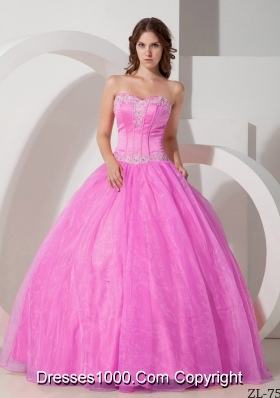 Beautiful Sweetheart Organza Rose Pink Quinceneara Dresses with Beading and Appliques