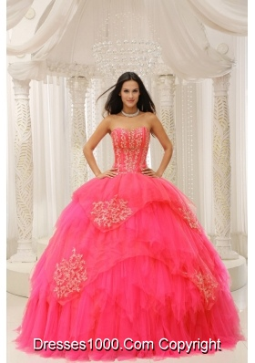 Custom Made Red Sweetheart Embroidery For Quinceanera Wear In 2014