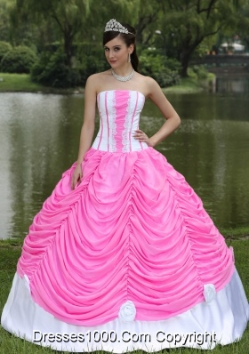 Custom Made Rose Pink Quinceanera Gowns with Strapless   Pick-ups