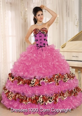 Discount Appliques Sweetheart Leopard Sweet 15 Dresses with Ruffles