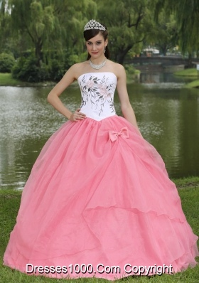 Discount Strapless Pink Quinceanera Gown Dresses with Embroidery