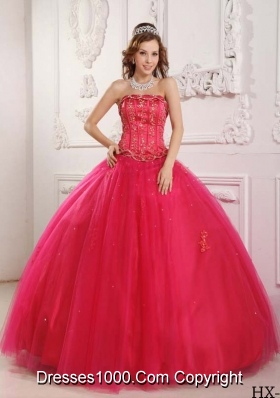 Elegant Puffy Strapless 2014 Beading Hot Pink Sweet 15 Dresses with Appliques
