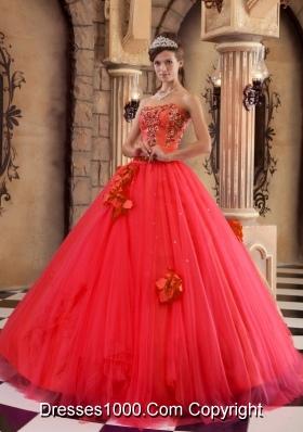 Elegant Red Princess Strapless 2014 Beading Quinceanera Dresses