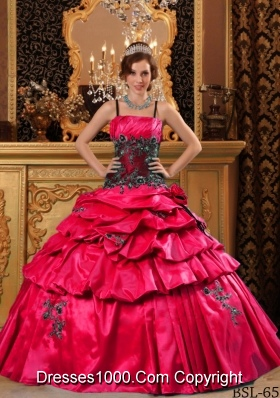 Exclusive Red Puffy Straps Pick-ups and Appliques Quinceanera Dress for 2014