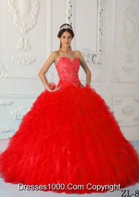 Exquisite Red Puffy Sweetheart Beading Quinceanera Dresses for 2014
