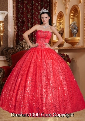 Gorgeous Red Puffy Sweetheart 2014 Long Quinceanera Dresses with Beading