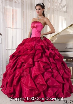 Modest Red Ball Gown Strapless for 2014 Beading Quinceanera Dress with Ruffles
