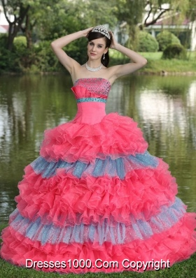 Multi-color Strapless Tiered Sweet Sequins for 2014 Quinceanera Dress with Ruffled Layers