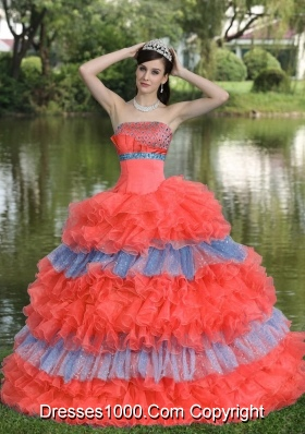 Multi-color  Sweet Sequins Strapless for 2014 Quinceanera Dress with Ruffled Layers
