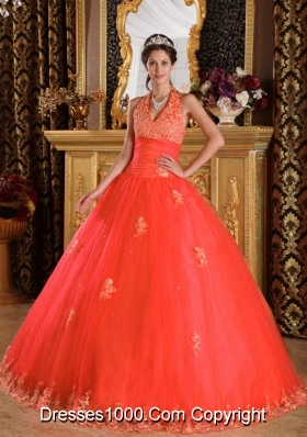 Perfect Puffy Halter Lace Appliques 2014 Red Quinceanera Dresses