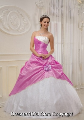 Pink and White Strapless Taffeta Quinceanera Dresses with Beading and Flowers