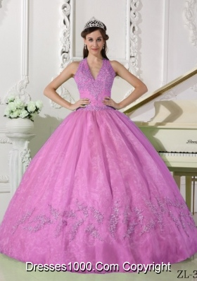 Popular Halter Organza Appliques Rose Pink Quinceanera Gowns with Appliques