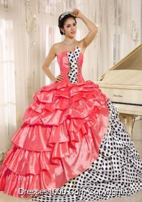Popular Multi-color Pick-ups Strapless 2014 Quinceanera Dress