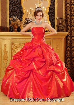 Popular Puffy Strapless Hand Made Flowers Red 2014 Quinceanera Dresses