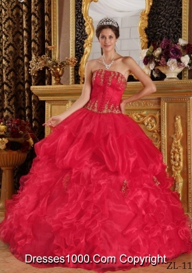 Pretty Red Puffy Strapless Appliques Quinceanera Dress for 2014
