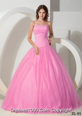 Princess Rose Pink Strapless Sweet 15 Dresses with Beading