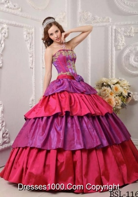 Puffy Strapless Ruffled Layers and Bowknot for 2014 Quinceanera Dresses