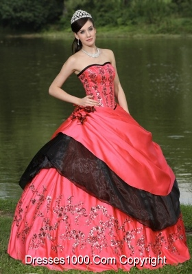 Red For 2014 Emdroidery Quinceanera Dress WithHand Made Flowers