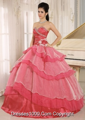 Red Sweetheart Ruching and Ruffled Layeres Quinceanera Dress In 2014