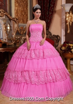 Rose Pink Ball Gown Strapless Organza Lace  Quinceanera Gown with Appliques